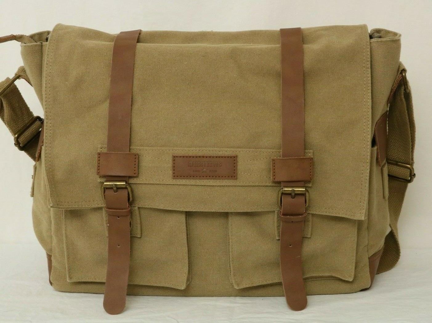 Sweetbriar Canvas Laptop Briefcase Business Casual Shoulder Messenger Bag
