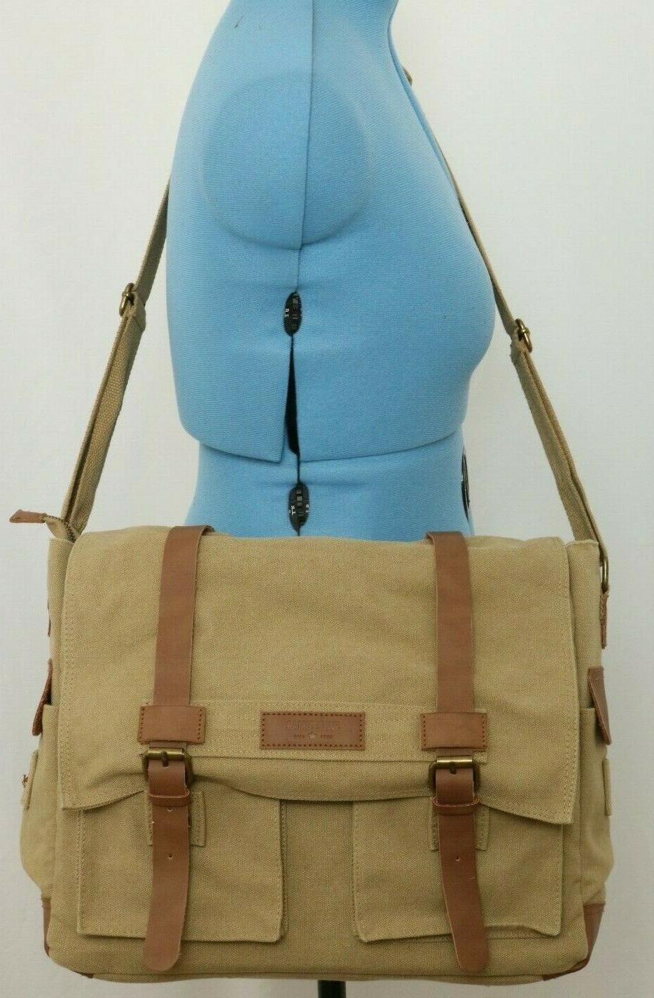 canvas laptop briefcase business casual shoulder messenger
