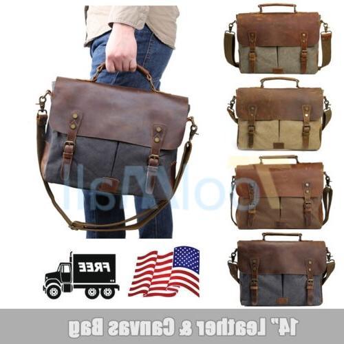 """Canvas Leather 14"""" Laptop Briefcase Men CrossBody Shoulder M"""