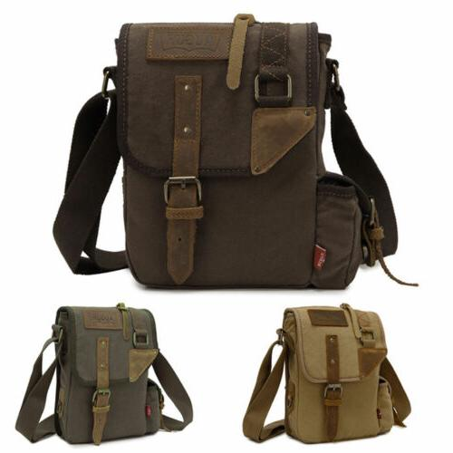 Canvas Leather Cross-Body Military Sling Hiking Bag Messenge