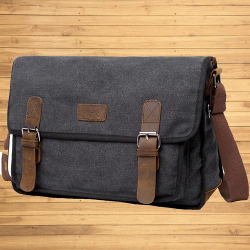 Canvas Shoulder For Men, Military Field Crossbody For 15.6 Inch Laptop