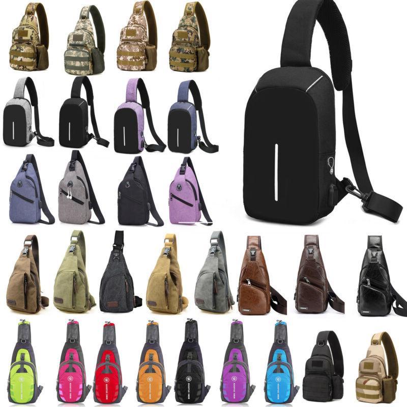 canvas shoulder sling chest bags pack travel