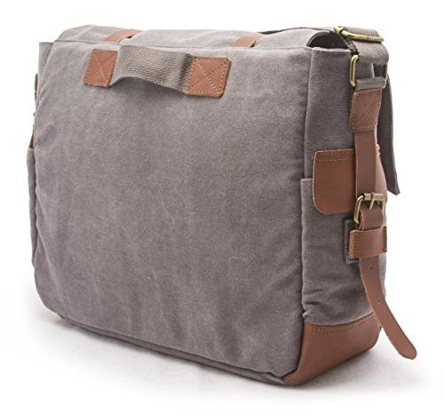 Sweetbriar Classic Laptop Bag, Gray Canvas Pack Laptops up Inches