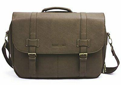 classic laptop messenger bag brown vegan leather