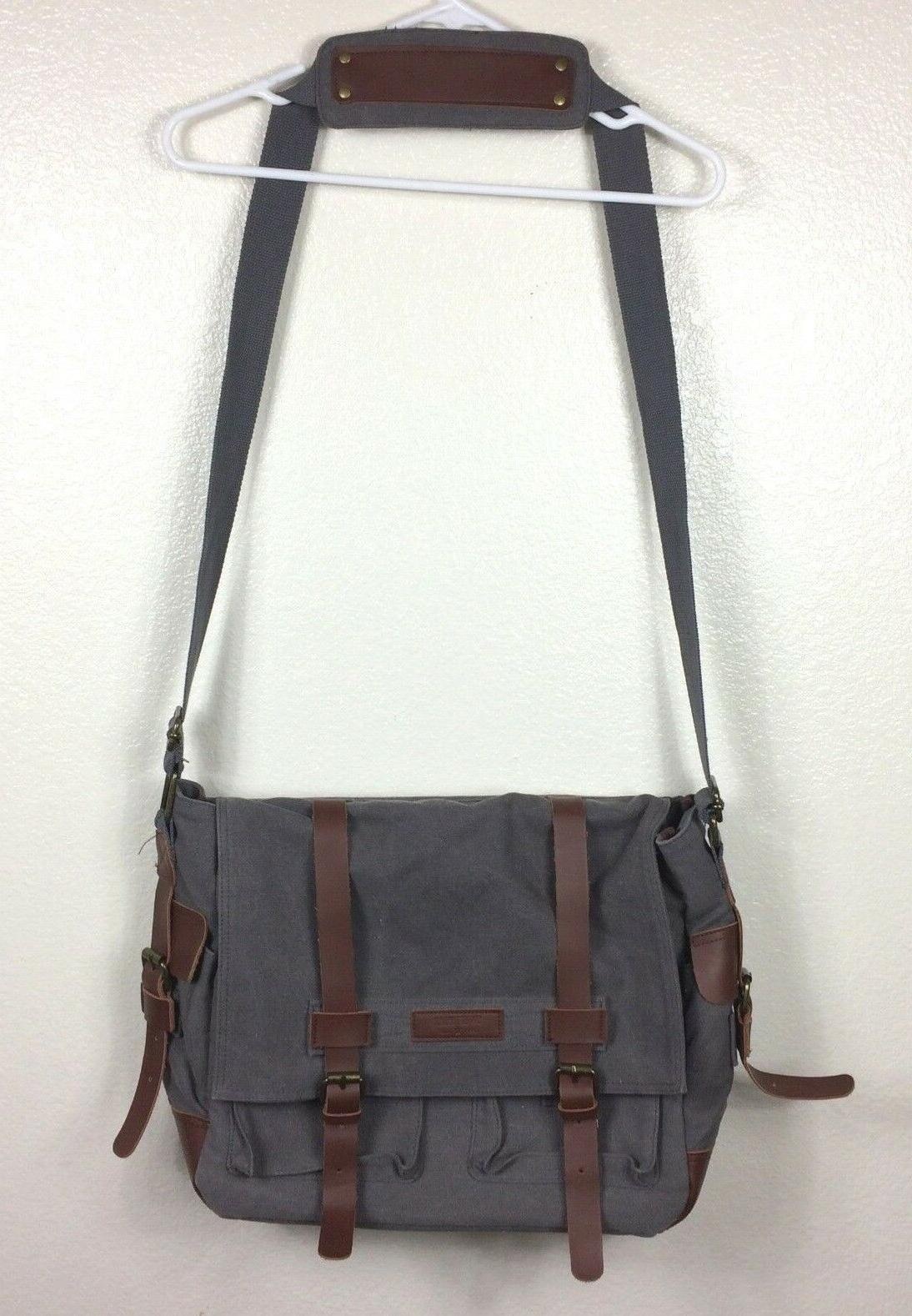 Sweetbriar Classic Laptop Messenger Bag Gray Canvas Leather