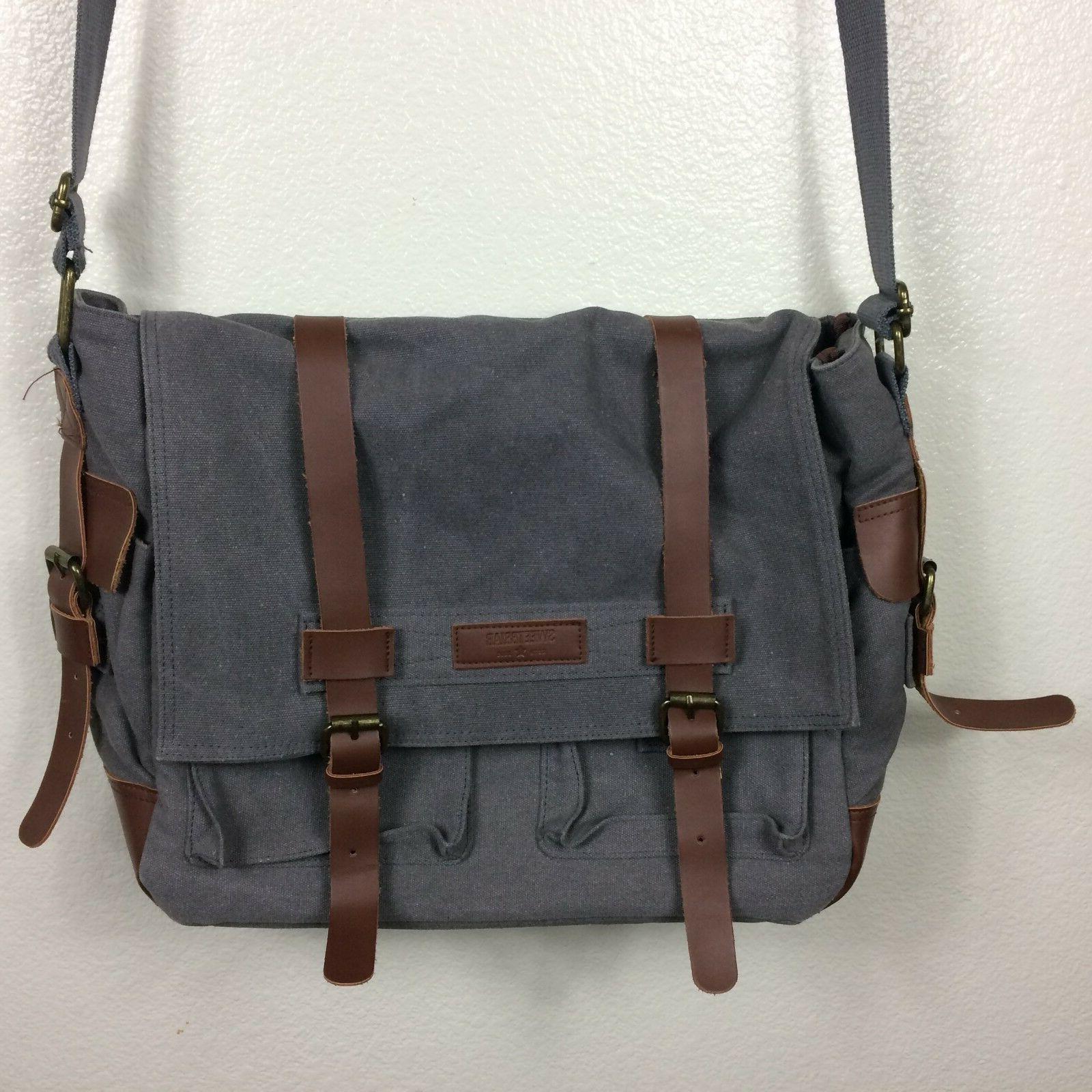 classic laptop messenger bag gray canvas brown