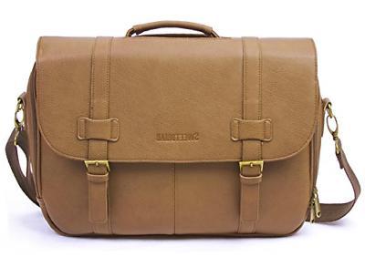 classic laptop messenger bag tan vegan leather