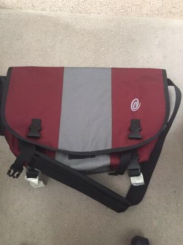 classic medium messenger bag burgundy and gray