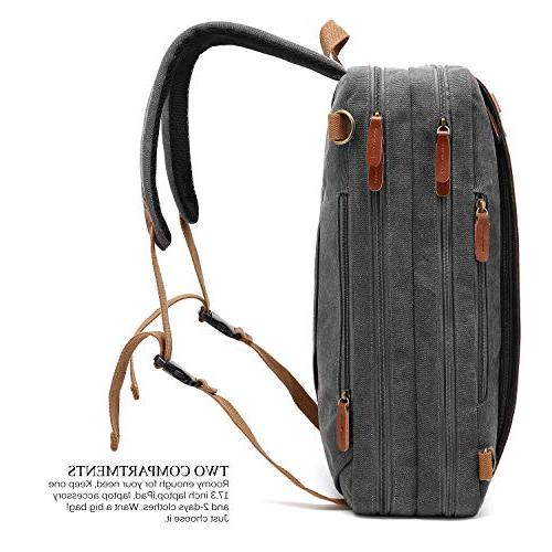 CoolBELL Convertible Backpack Shoulder Case Handbag Multi-Functional Rucksack Fits Laptop for Men/Women