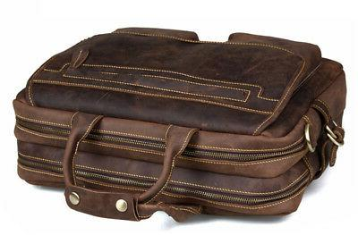 Kattee Crazy Horse Leather Briefcase Shoulder Bags Tote