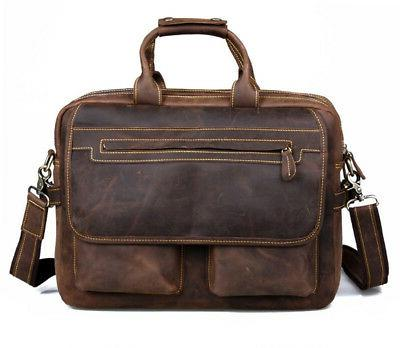Kattee Crazy Leather Briefcase Bags Tote