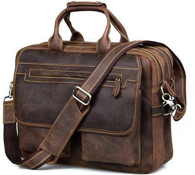 crazy horse leather briefcase shoulder business laptop