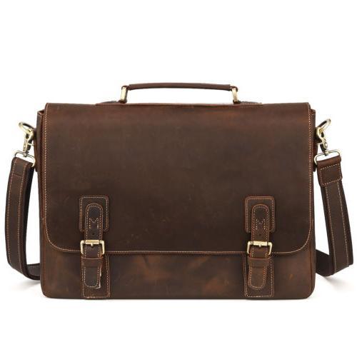 "Kattee Crazy Horse Leather Men Briefcase Business Bag 16""lap"