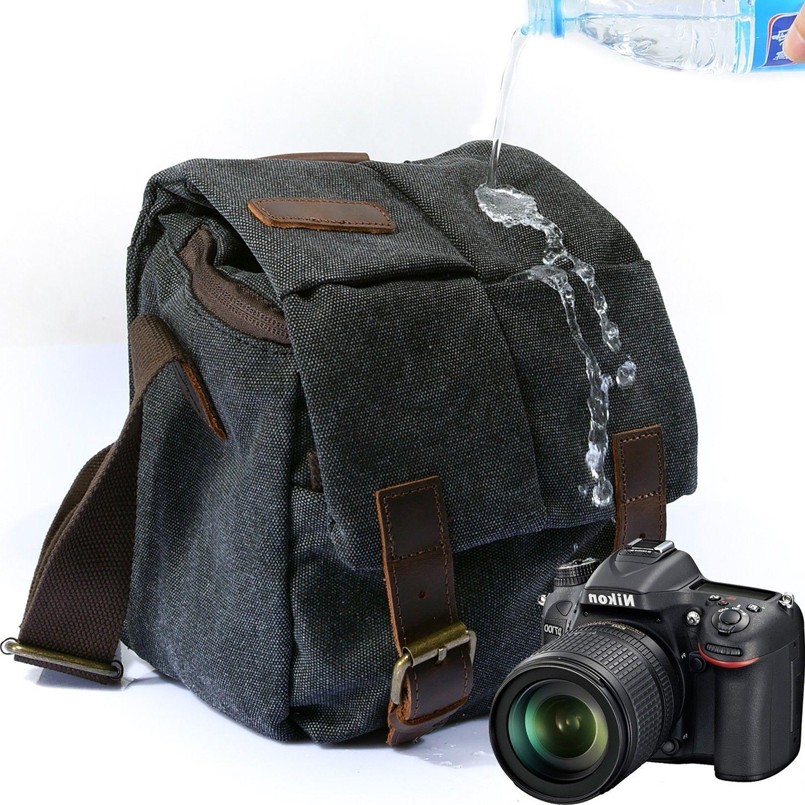 DSLR Canvas Camera Bag Shoulder Messenger Bag Carrying Padde