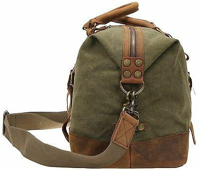 Duffel Bag Berchirly Large Canvas Leather Carryon Army