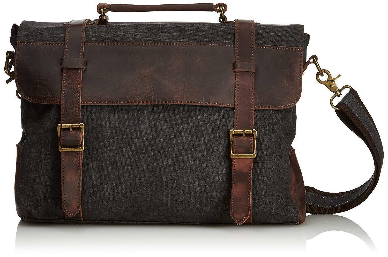 Estarer Canvas Leather Laptop School Messenger Bag Briefcase