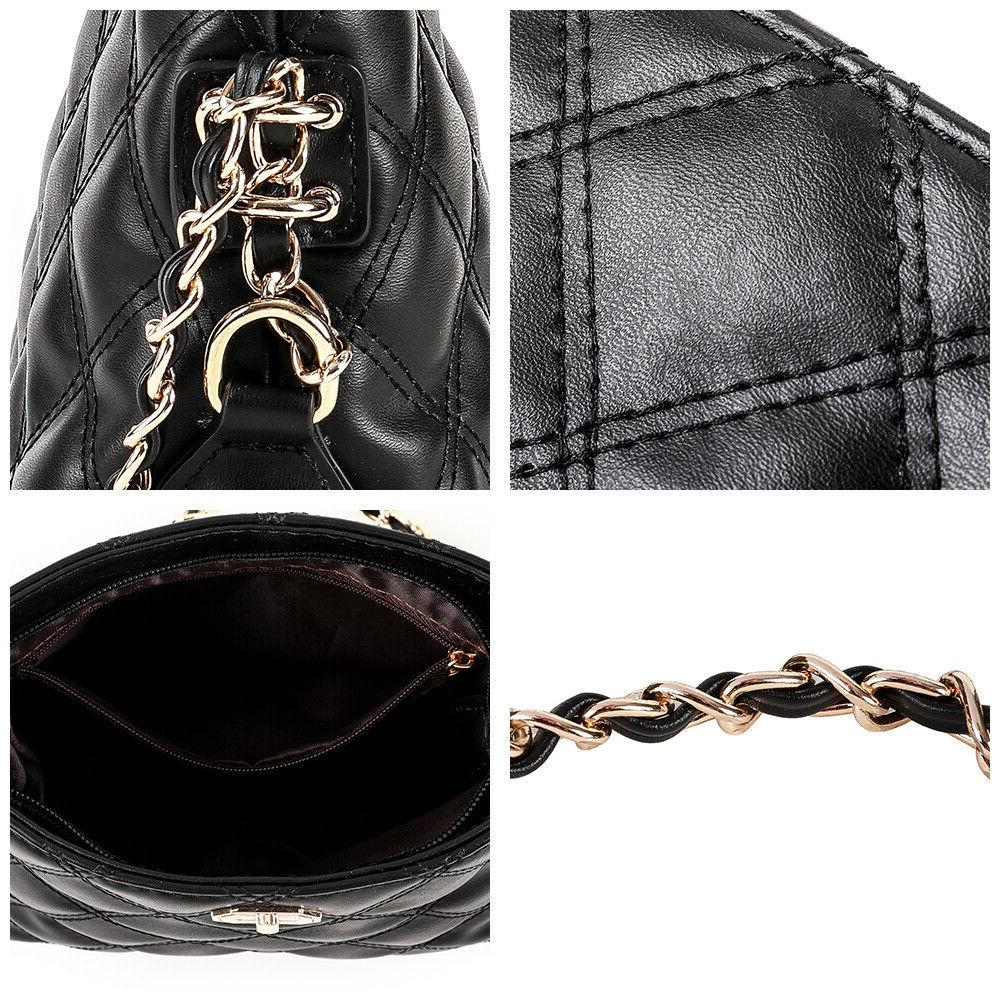 Fashion Quilted Crossbody Chain Bag Purse PU Bag