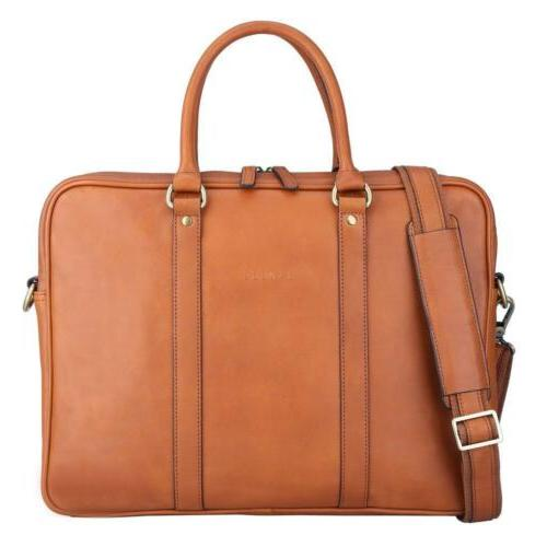 Banuce Full Grain Leather Briefcase for Men Tote Messenger L