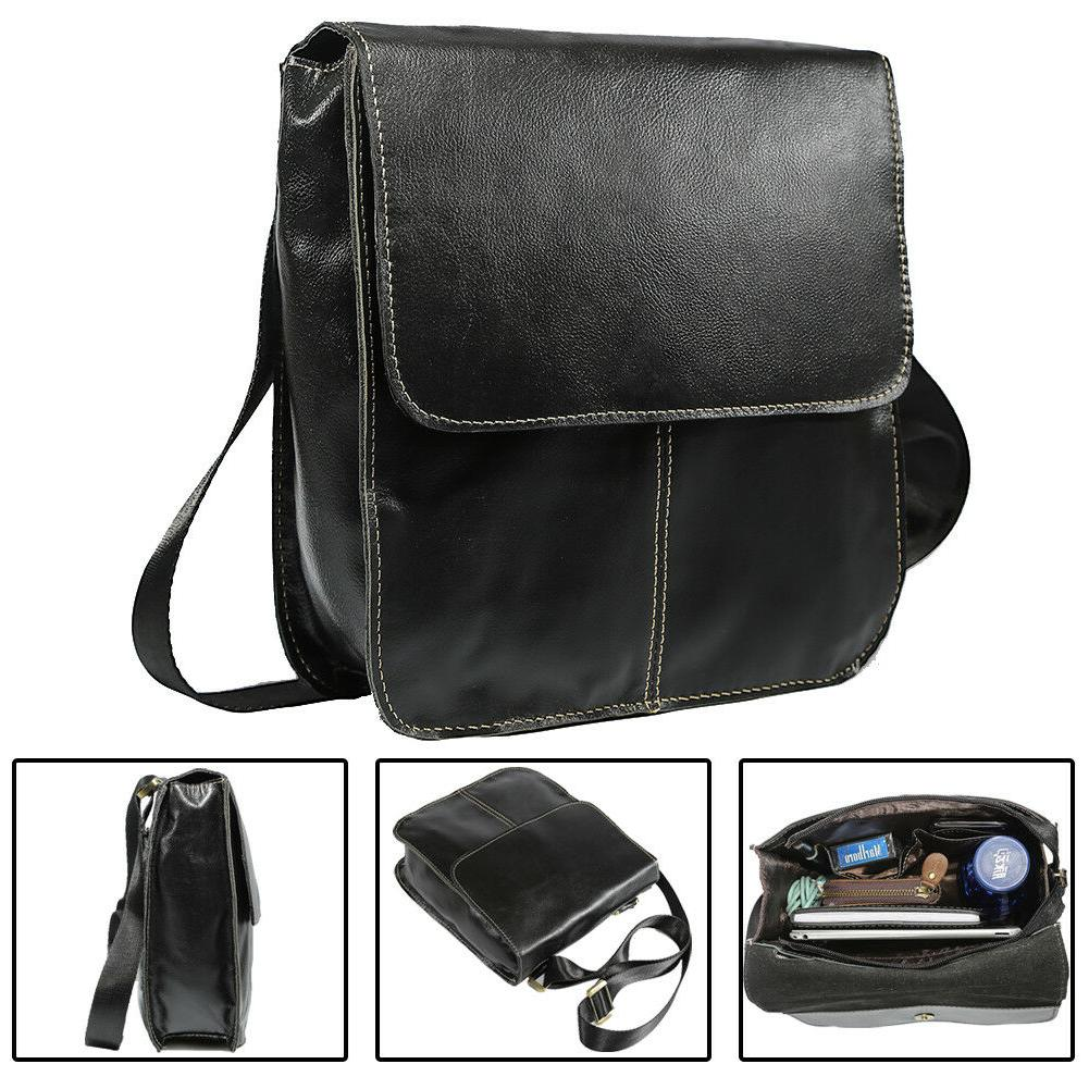 Full Grain Leather Men Shoulder Messenger Crossbody Sling Ba