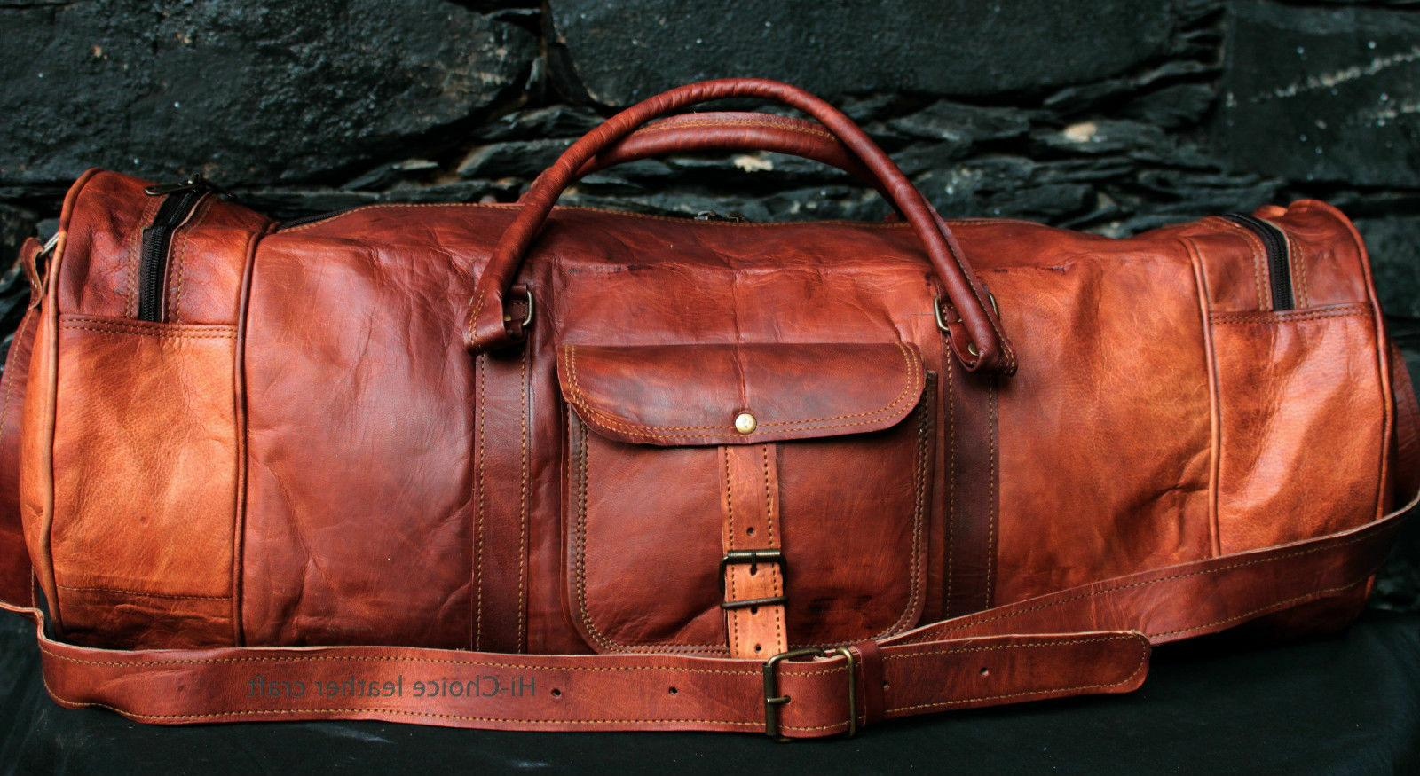 Genuine Goat Leather Round Travel Men bag Vintage Luggage Gy