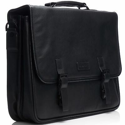 "Alpine Swiss 15.6"" Briefcase Over Messenger Bag"