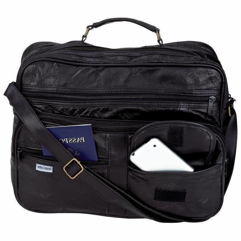 """New Genuine Leather Soft Lambskin 14"""" Laptop Tote Bag w Stra"""