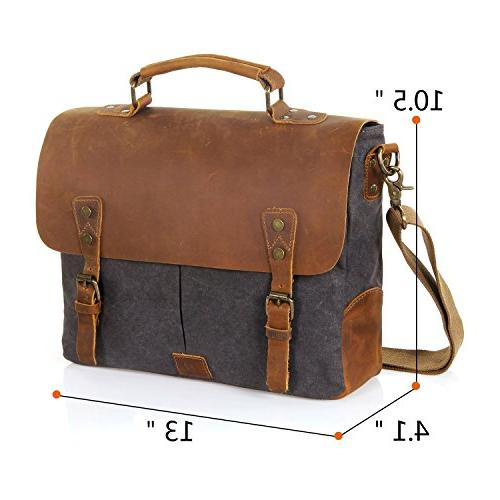 Langforth Vintage 14 Laptop Satchel Bag Grey 13 x10.5 x 4.1