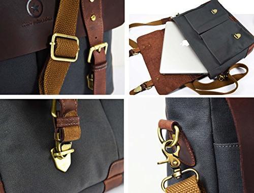 "14.5"" Canvas Messenger Bag | Multiple Pockets Aaron"