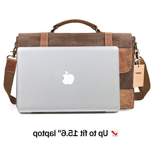 988826e683 NEWHEY Waterproof Laptop 15.6 Briefcase Vintage Waxed Canvas Large Shoulder  College. NEWHEY Bag ...