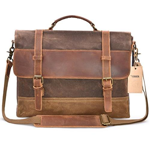 65849b8bf3 NEWHEY Mens Bag Laptop Briefcase Case Waxed Leather Large Satchel College