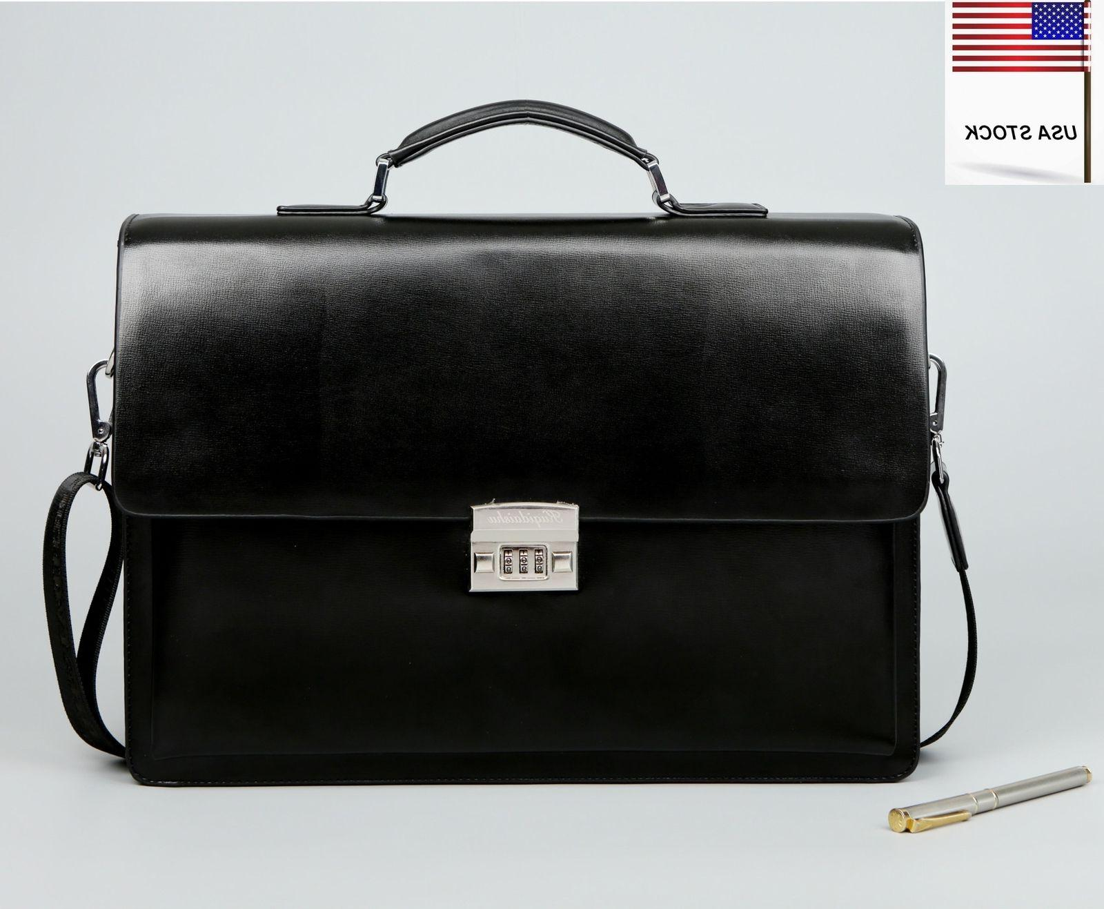 High Grade Mens Leather Briefcase Messenger Business File Pa