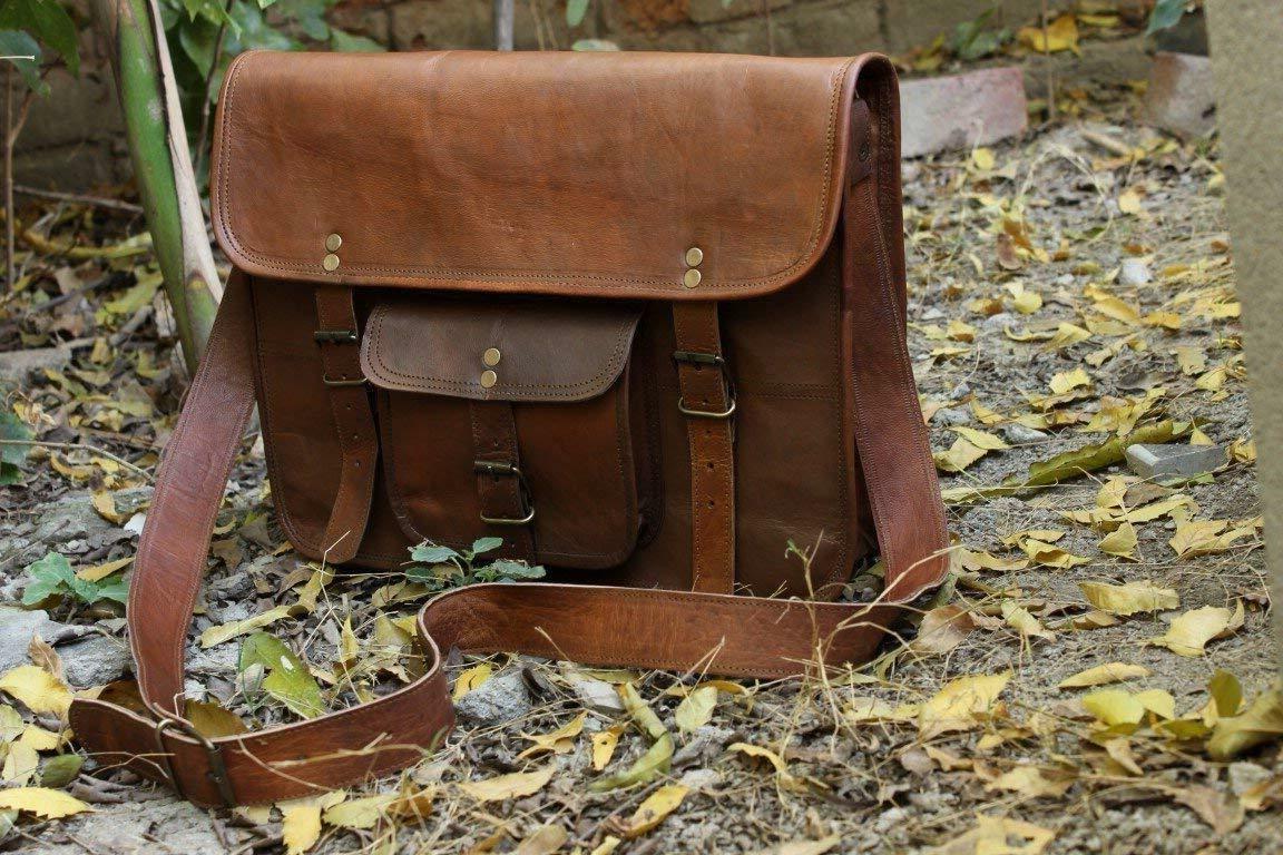 HLC Leather Messenger Bag Laptop Briefcase
