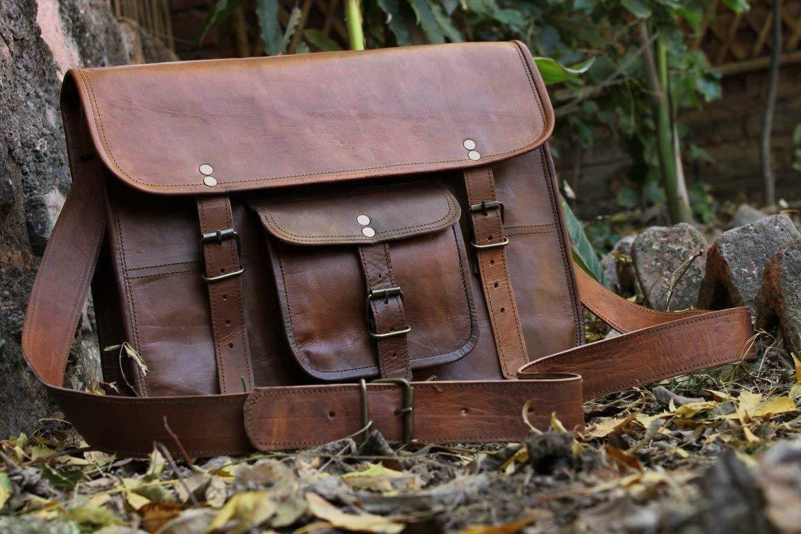 HLC Unisex Leather for Laptop Briefcase Satchel