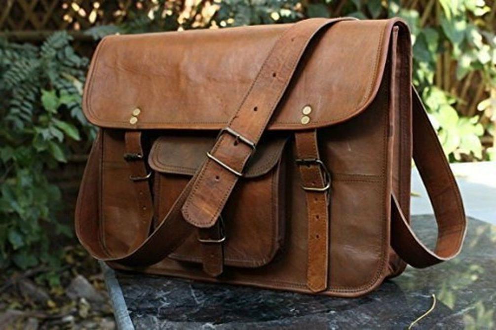 hlc leather unisex real leather messenger bag
