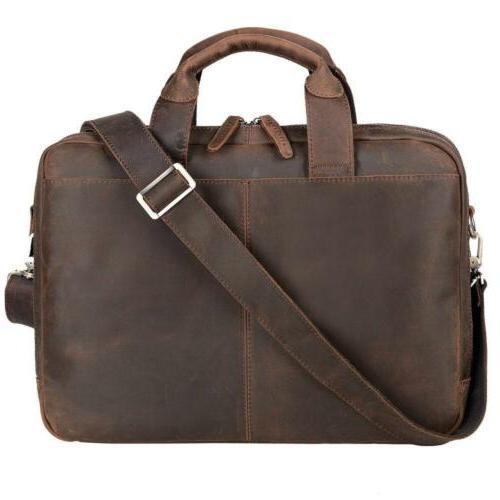 Jack&Chris Leather Briefcases For Men Shoulder Laptop Bag Me
