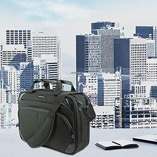KROSER Inch Laptop Briefcase Laptop Messenger Water Computer Case Bag Durable Tablet with RFID Pockets for Business/College/Women/Men-Black/Blue