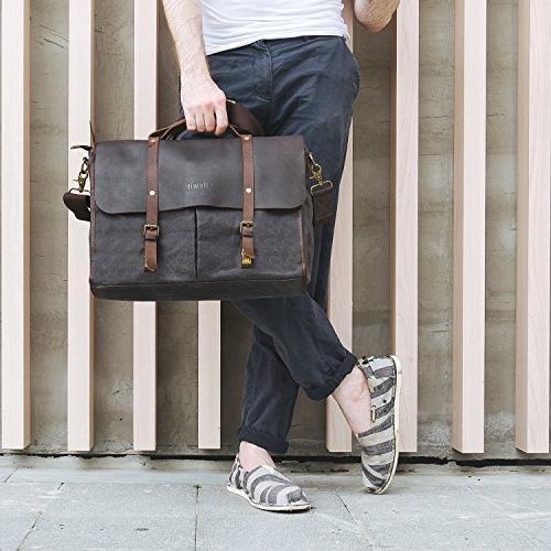 Lifewit Men's Bag Leather Waterproof Canvas Laptop