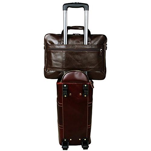 Berchirly Leather Business Messenge Brifecase Bag Totes Shoulder Bags fits Laptop