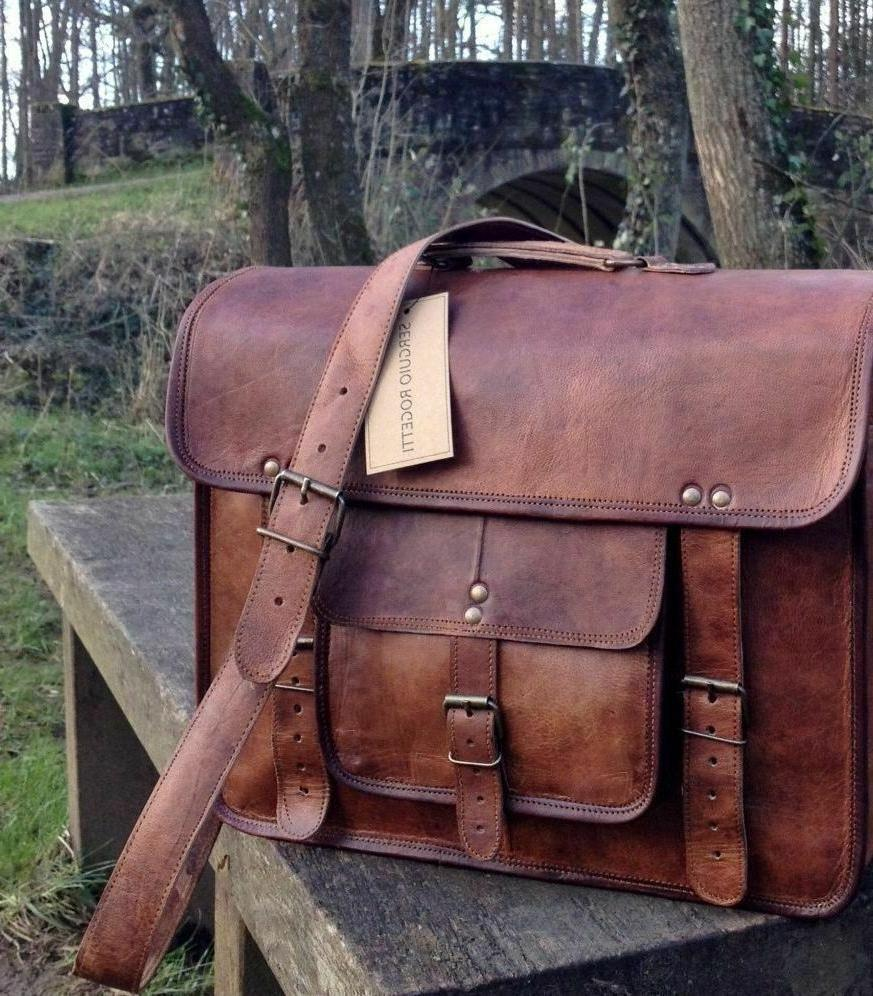 Large Brown Leather Messenger Shoulder Briefcase
