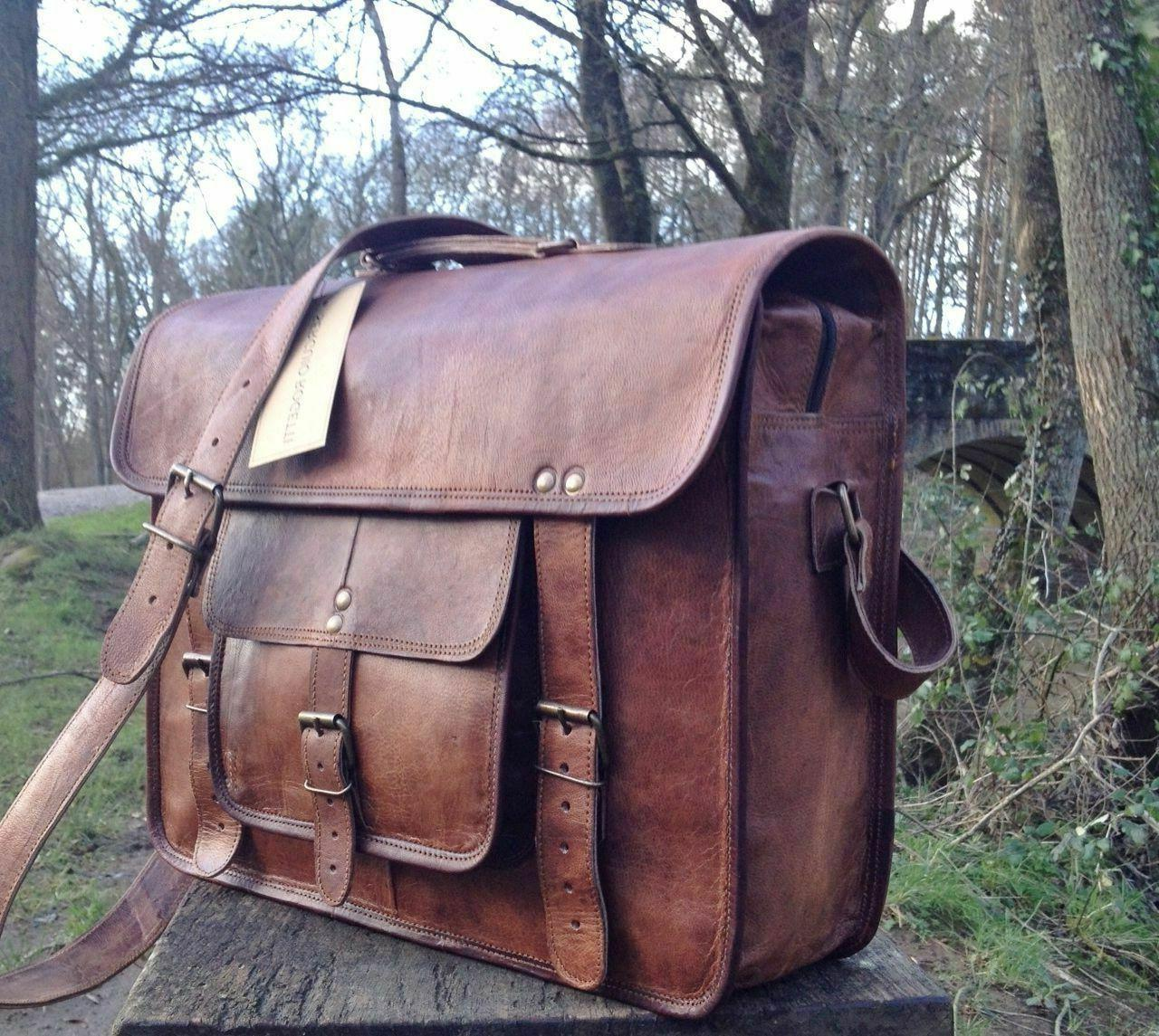Large Vintage Brown Messenger Shoulder
