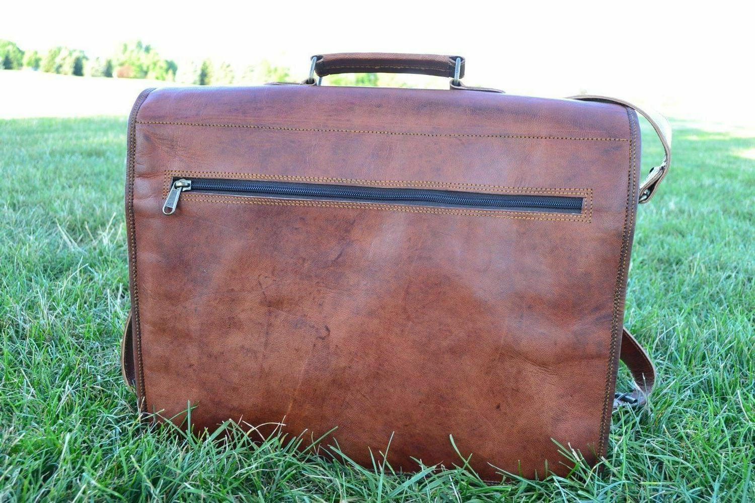Large Mens Vintage Brown Leather Bag Shoulder Briefcase