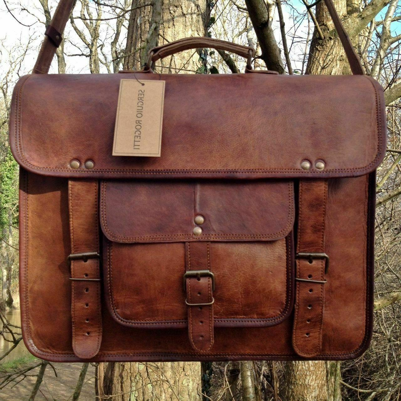 large mens genuine brown leather messenger bag