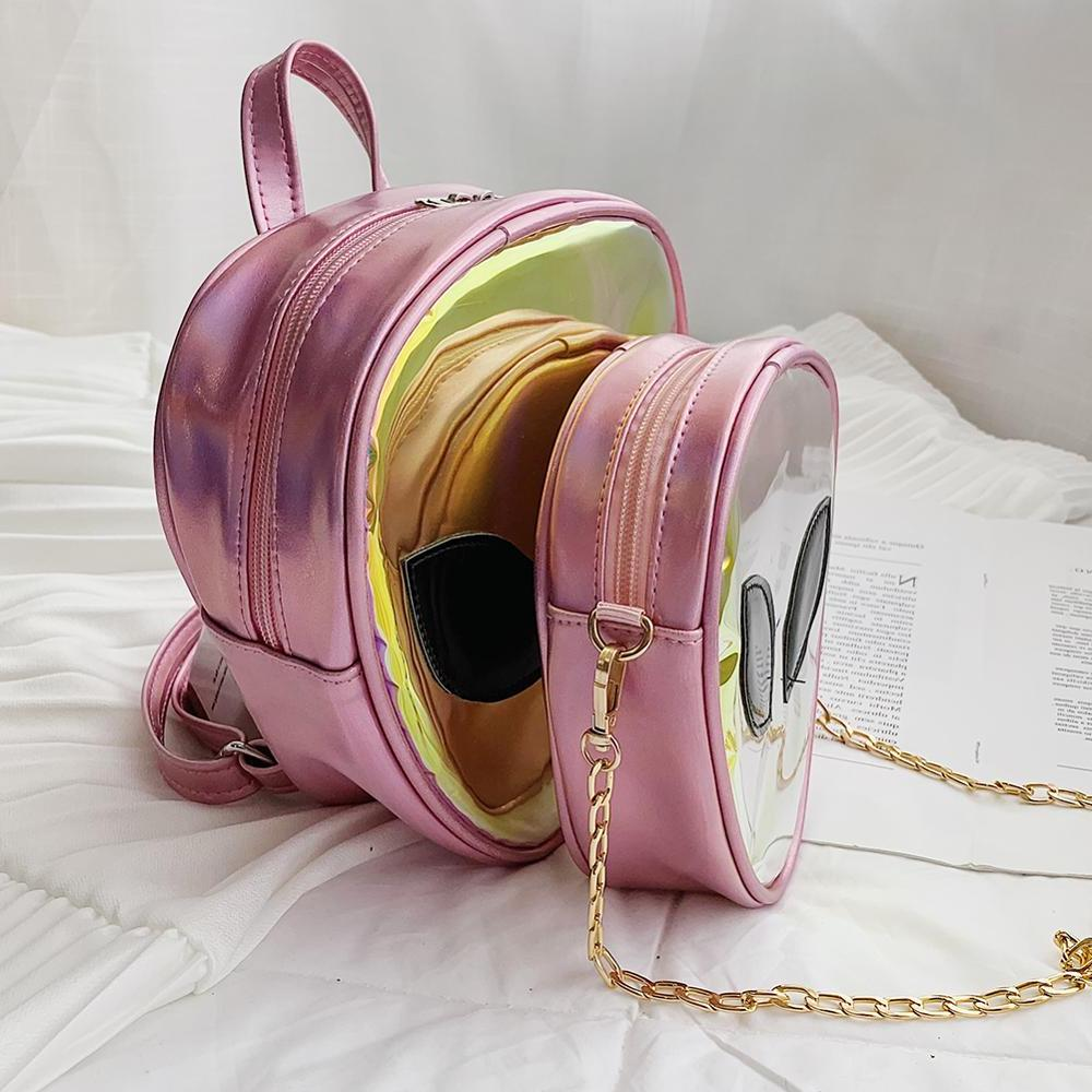 Laser Clear 3D Alien Face Rucksack Women <font><b>Bags</b></font> Girls A Dos Mujer