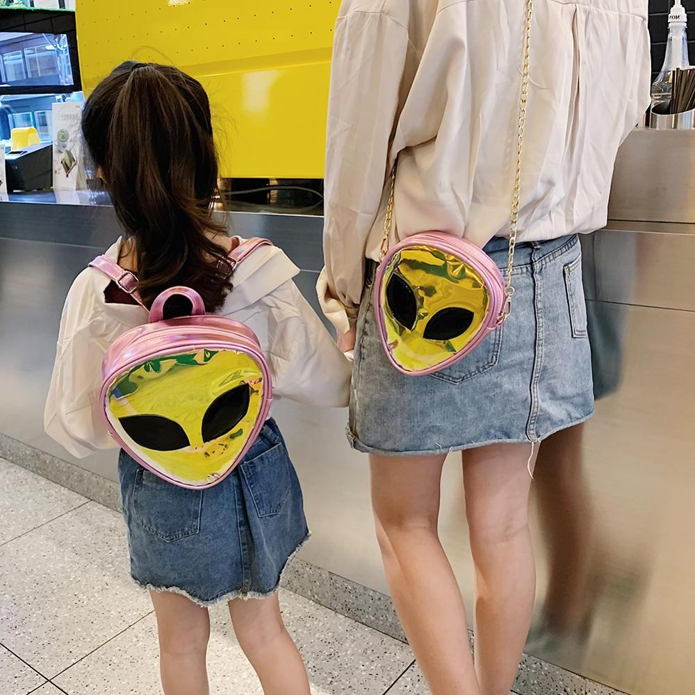 Laser Clear 3D Alien Face Rucksack Women Back <font><b>Bags</b></font> Girls Kawaii A Mujer