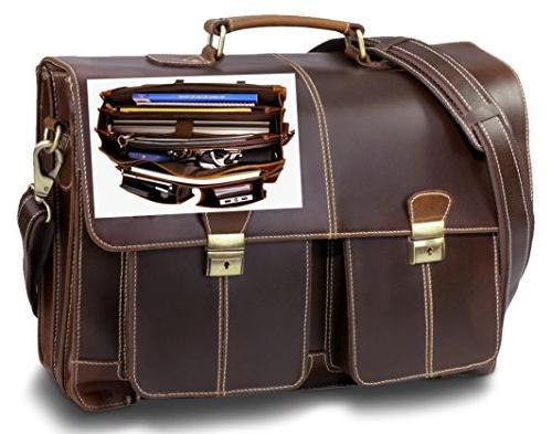 leather business briefcase messenger bag
