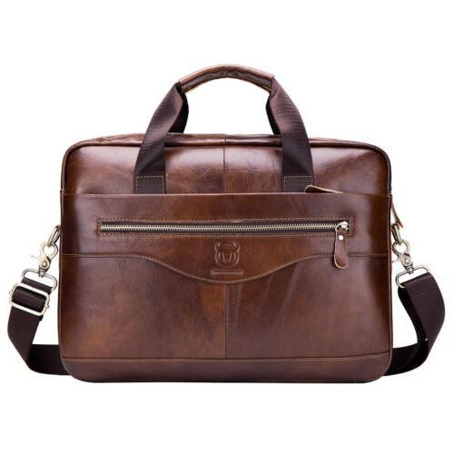 Leather Messenger Briefcase Crossbody