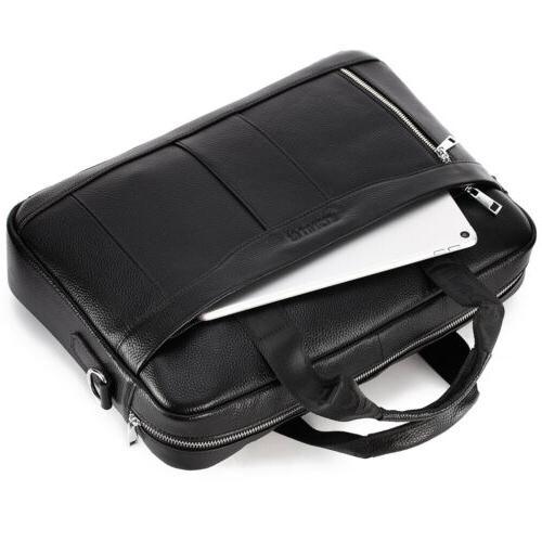 Leather Business Bag Laptop Briefcase Men Crossbody Pack