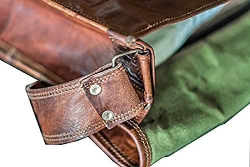 13 Leather Flap Messenger Handmade Laptop Bag Padded Messenger School Brown