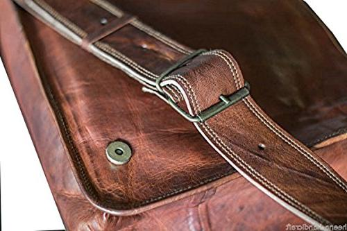 13 Inch Leather Flap Messenger Bag Laptop Padded Brown