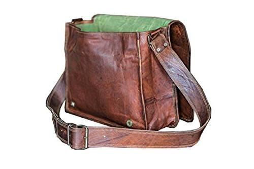 13 Leather Flap Handmade Padded Messenger Bag Brown
